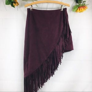 Express Faux Suede Asymmetrical  Fringe Skirt 8